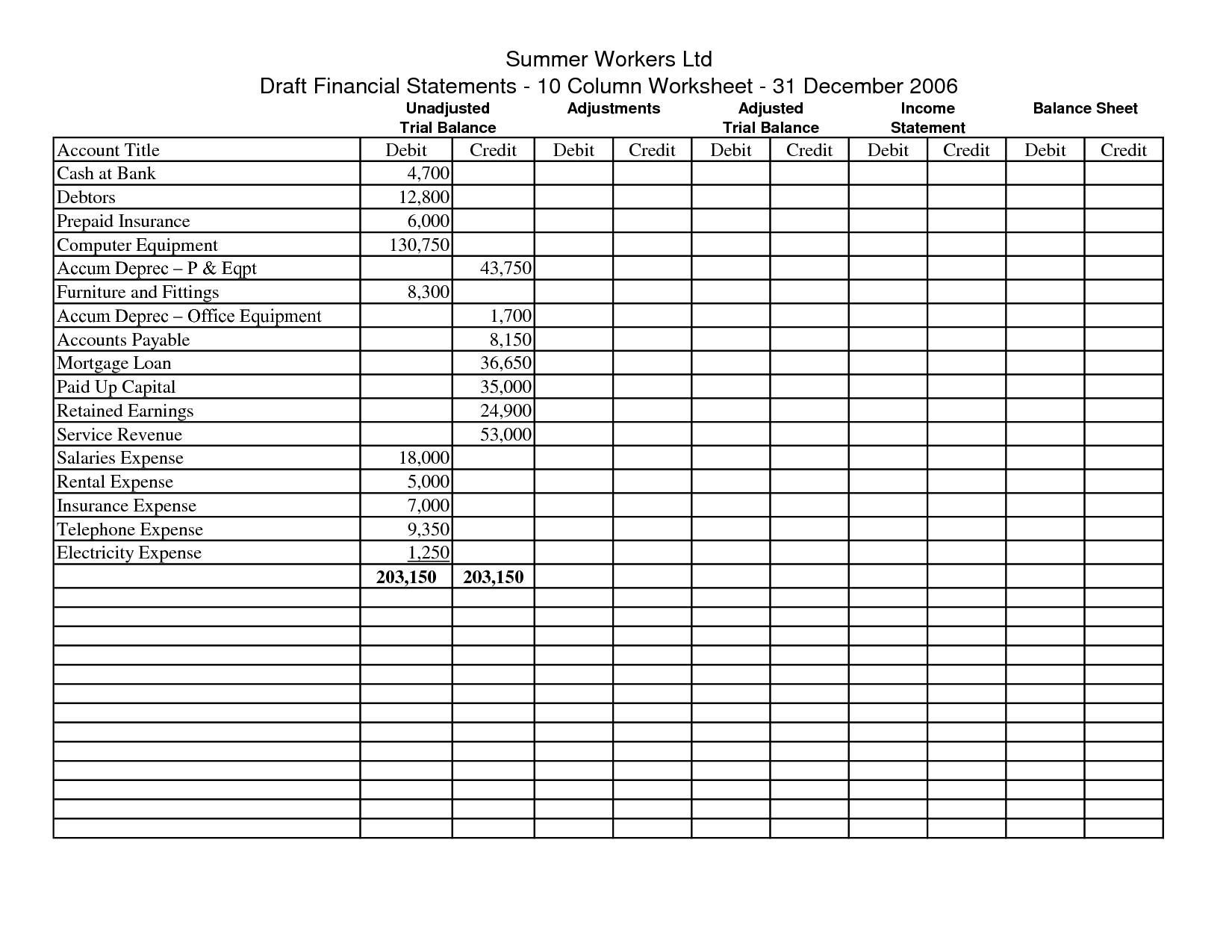 Worksheets  Accounting Worksheet Template  Tokyoobserver Just