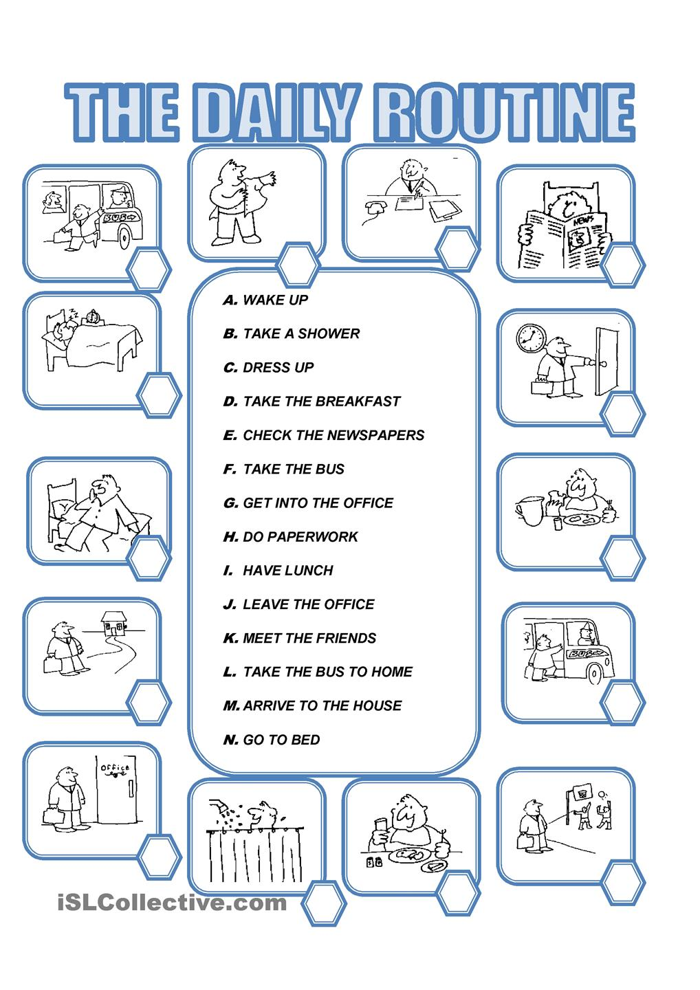 Worksheets Daily Routines
