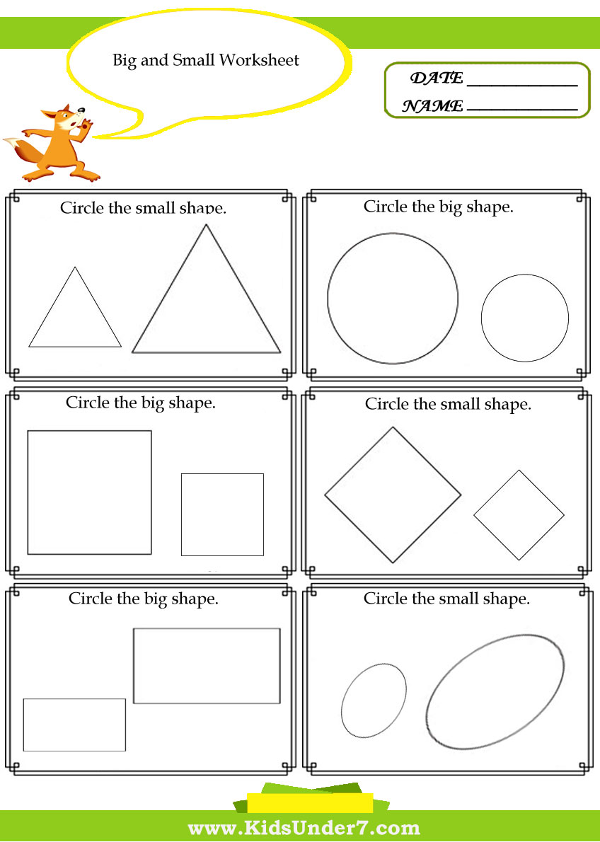 Worksheets For Big And Small