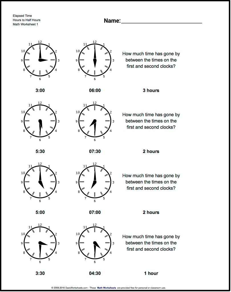 Worksheets For Elapsed Time To The Hour