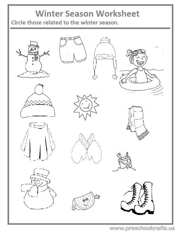 Worksheets For Kindergarten On Winter Season