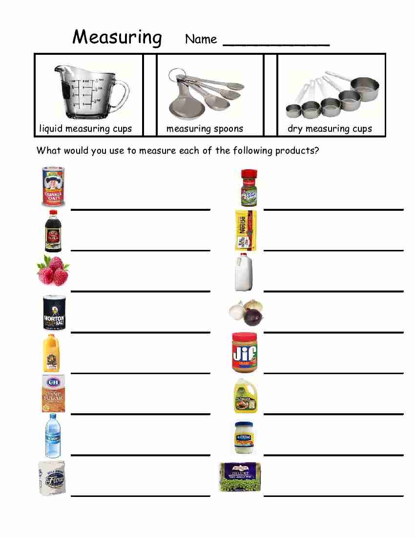 Worksheets Measuring Cups And Spoons Worksheets For All