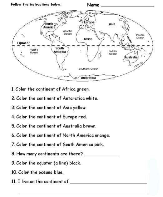 World Geography Worksheets 2nd Grade