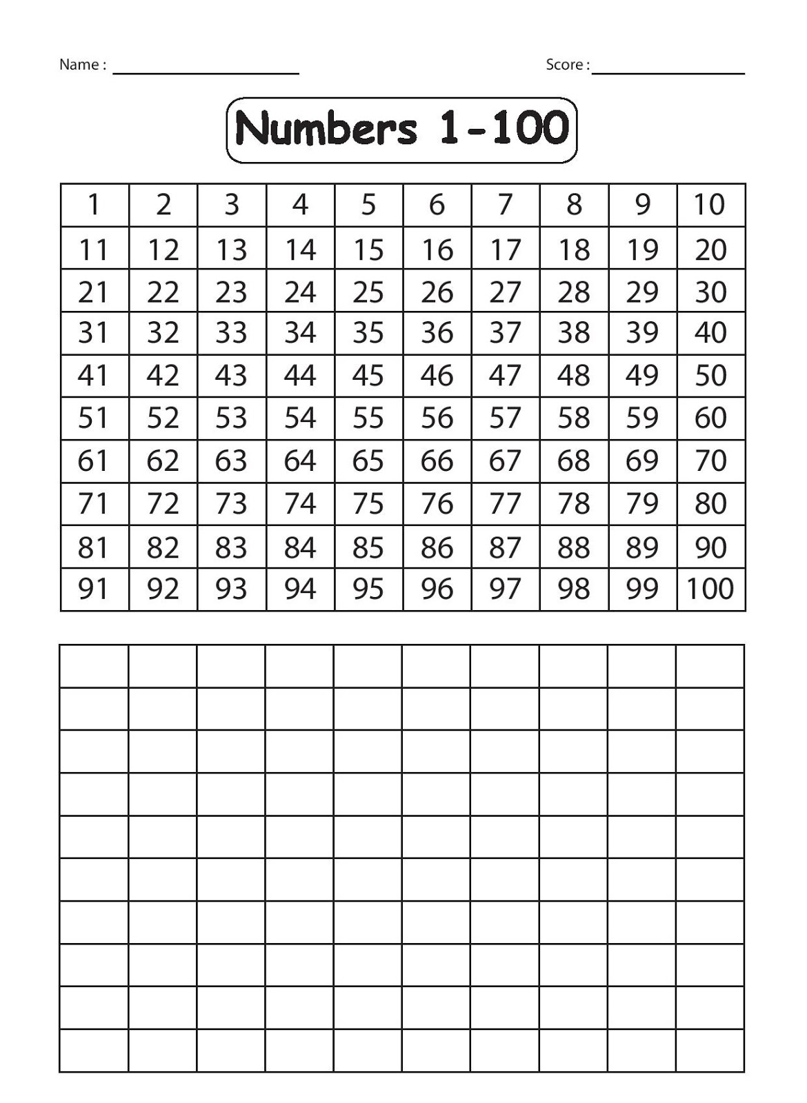 Write Numbers 1 100 Worksheet Worksheets For All