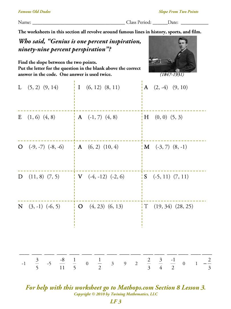 Writing Equations Slope Intercept Form Worksheet
