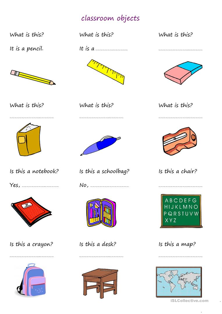 105 Free Esl Classroom Objects Worksheets