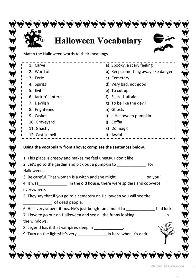 19 Free Esl Halloween Vocabulary Worksheets