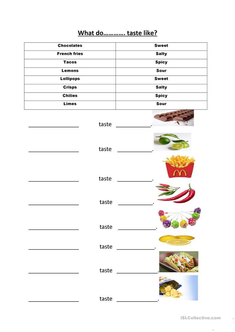 22 Free Esl Taste Worksheets