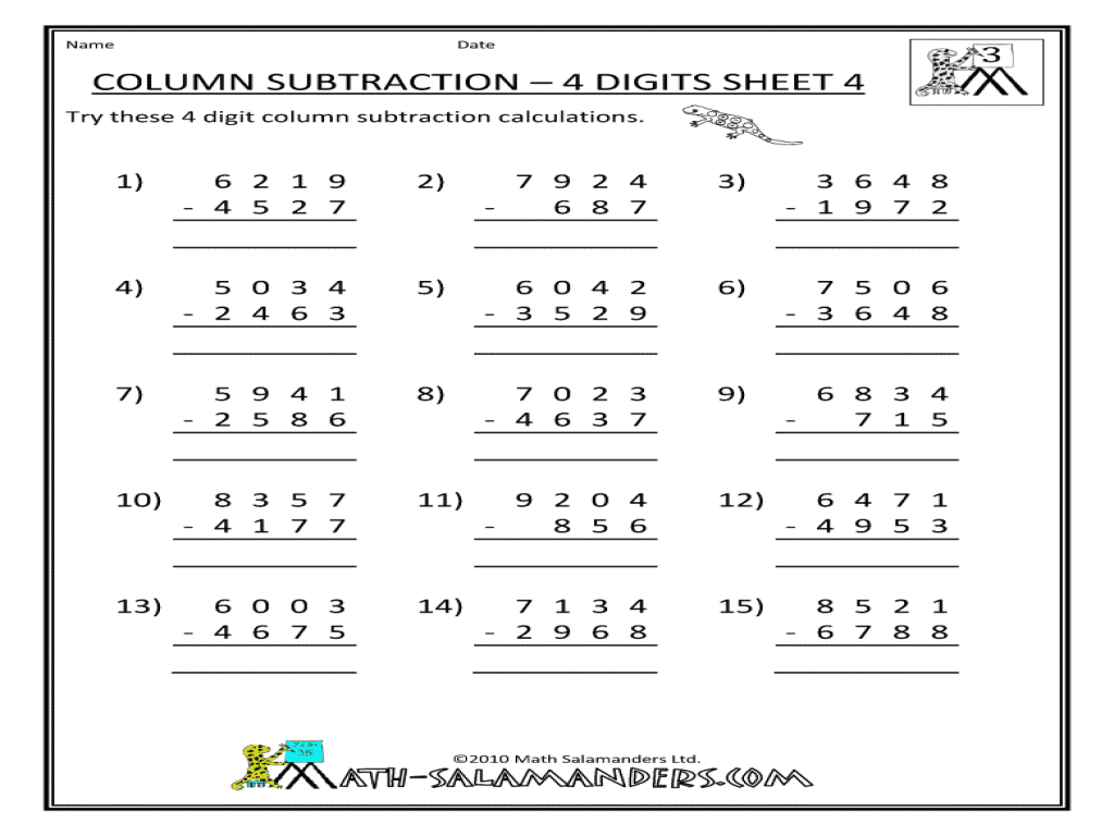4 Digit Subtraction With Borrowing Worksheets