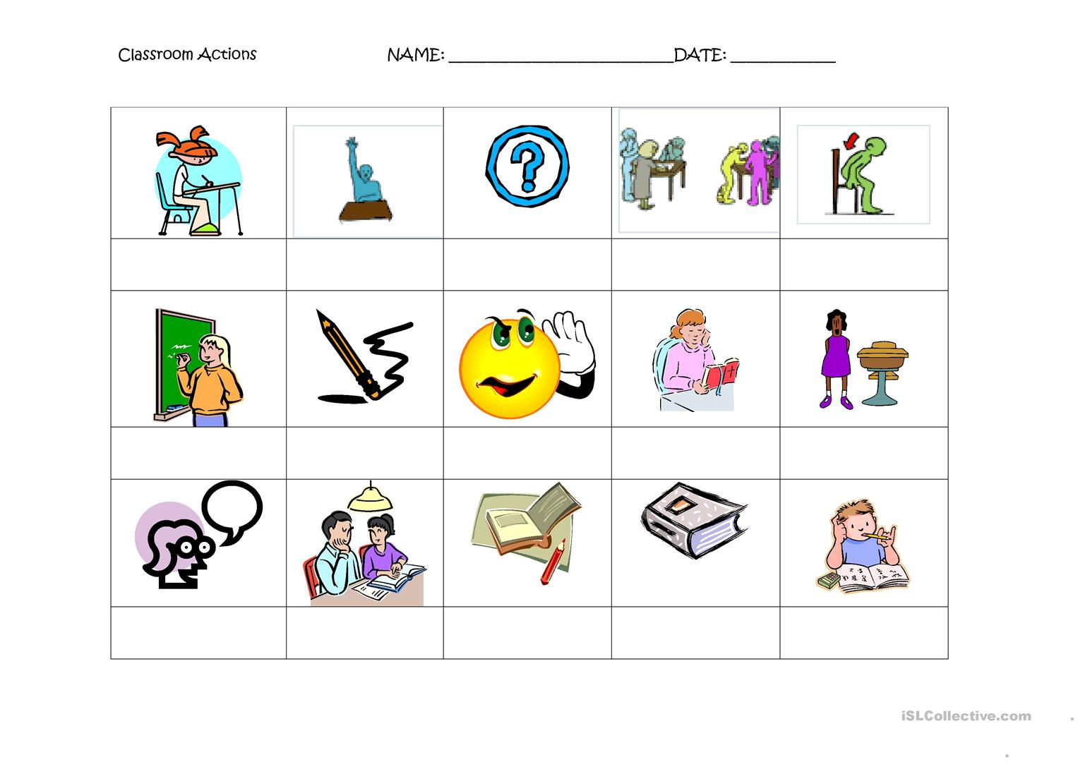 4 Free Esl Classroom Actions Worksheets