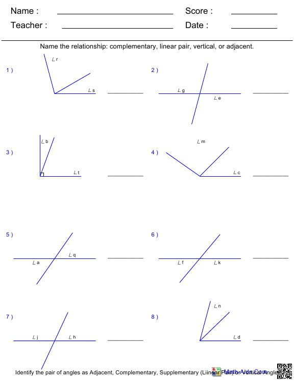 7th Grade Angles Worksheet The Best Worksheets Image Collection