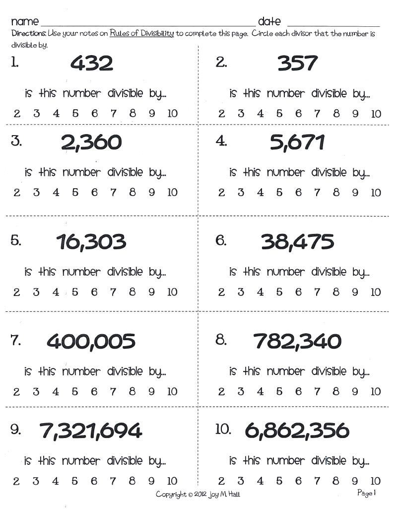 Acumen Divisibility Rules Games Printable Bing Images – Worksheets