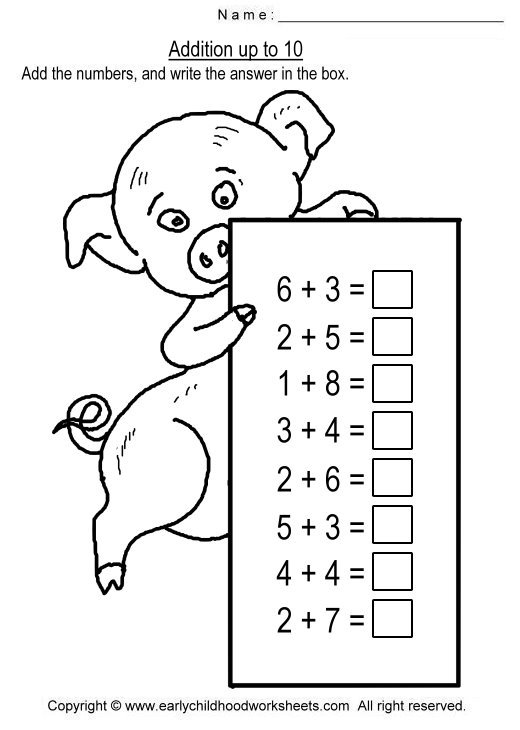 Addition Worksheets To 10 For The Best Worksheets Image Collection