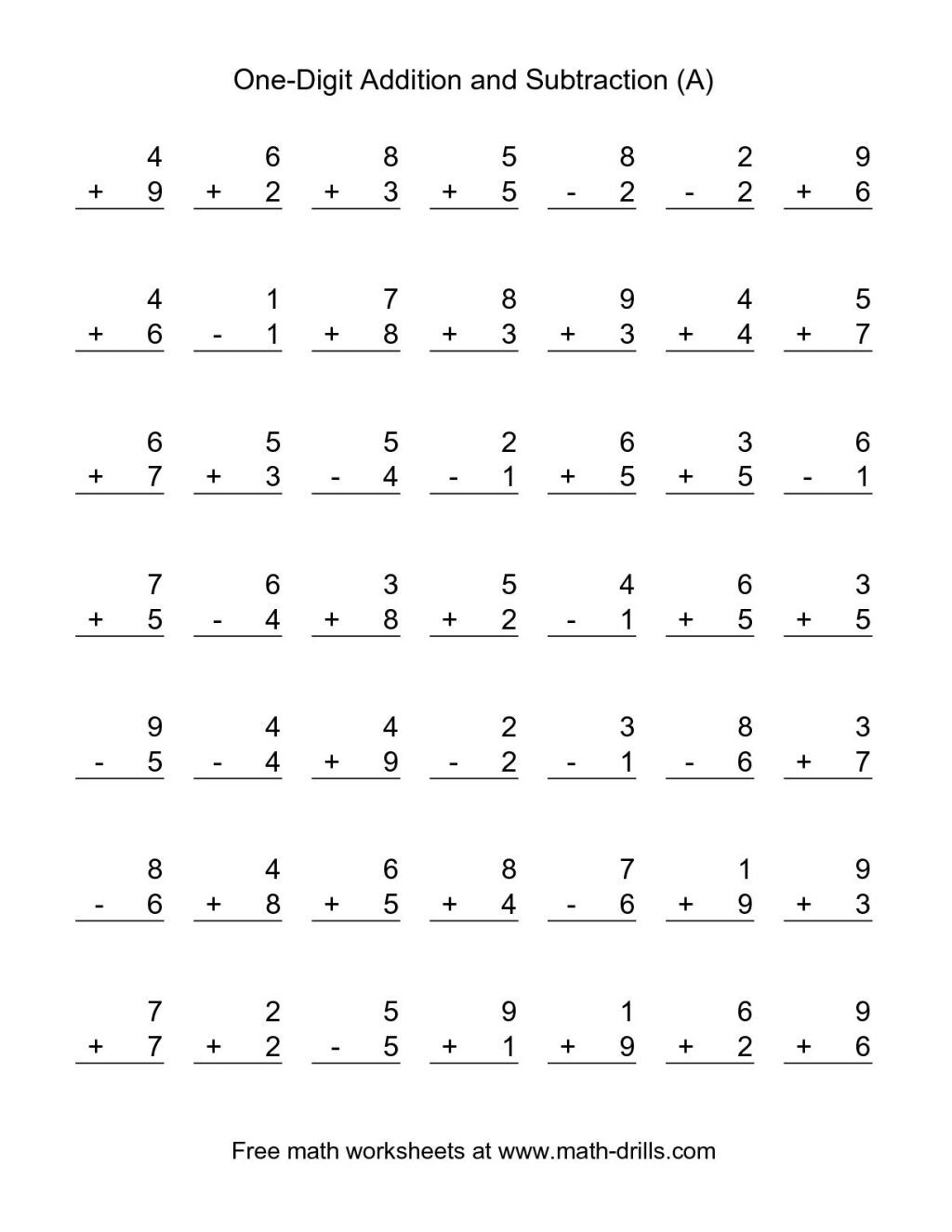 Additions  Addition Andubtraction Worksheets First Grade Free Math