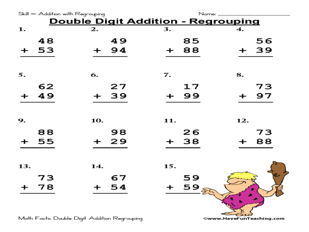 Additions  Double Digitition Worksheets With Regrouping No Free