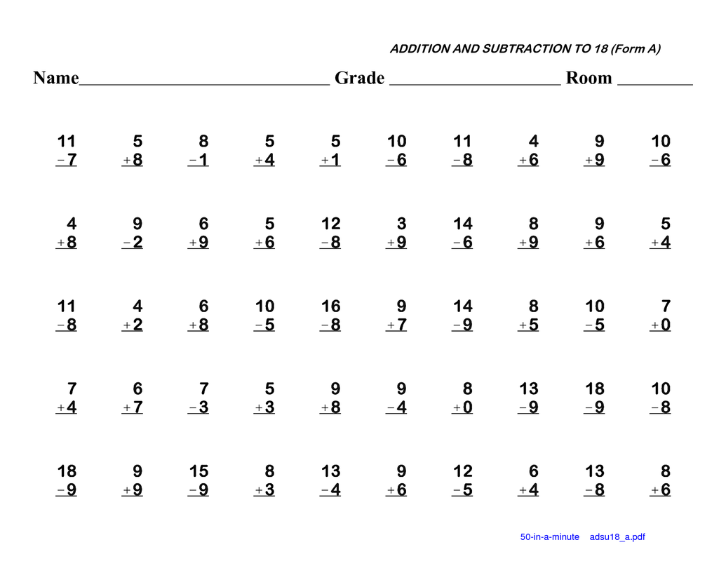 Additions  Free Printable Mathsheets Adding And Subtracting