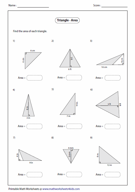 Area Of Triangle Worksheets  Worksheets  Ratchasima Printable