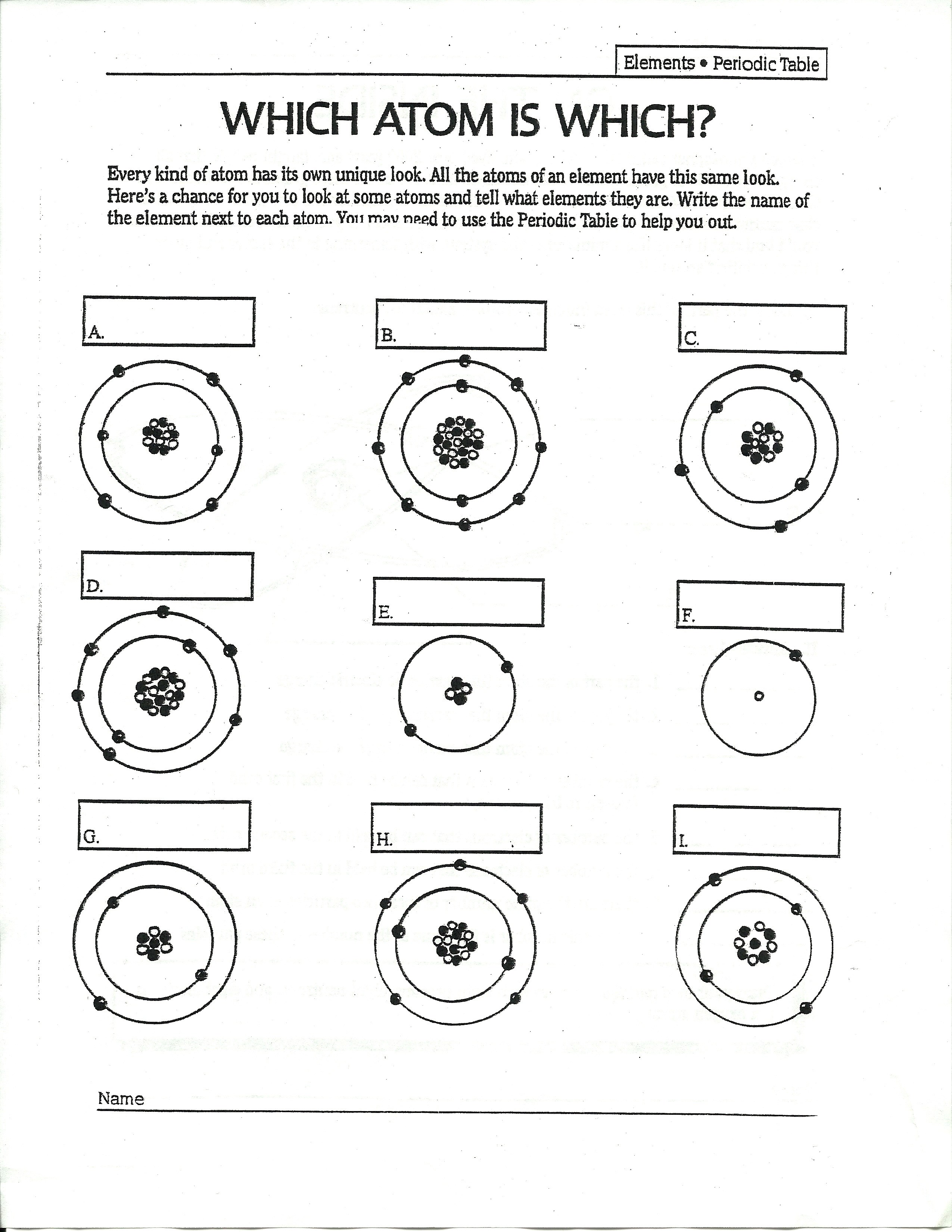 Atom Worksheet