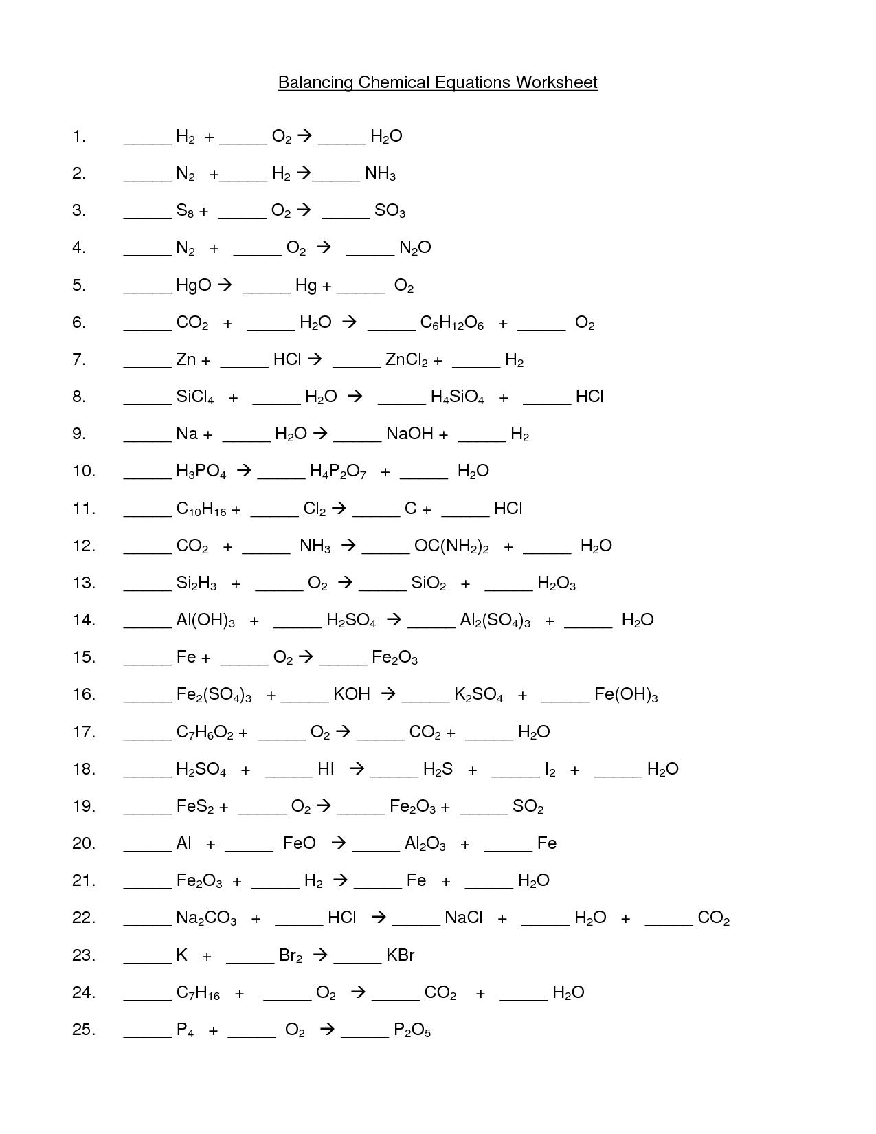 Balancing Equations Examples Worksheet