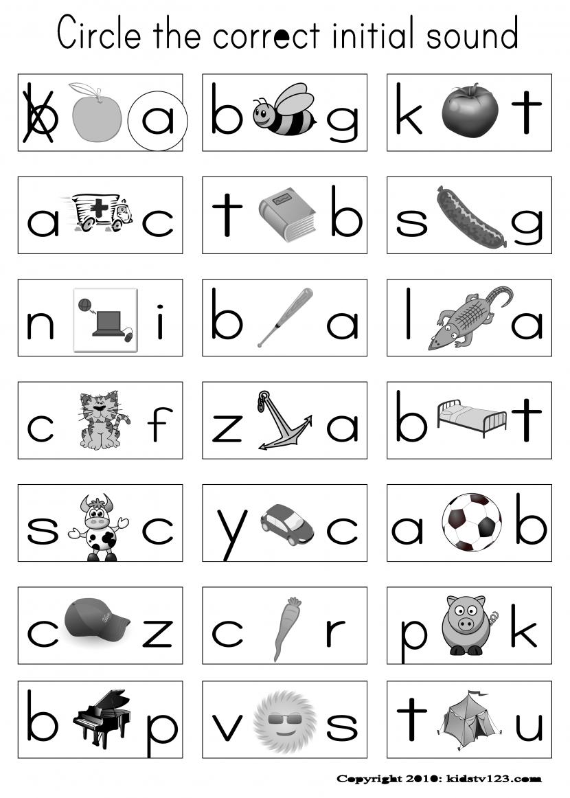 Beginning Sound Worksheets For Kindergarten Letter Koogra Math O
