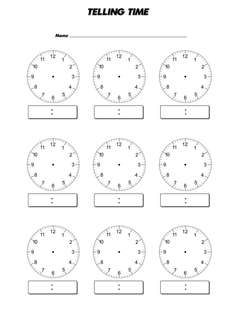 Blank Clock Face Worksheet Printable