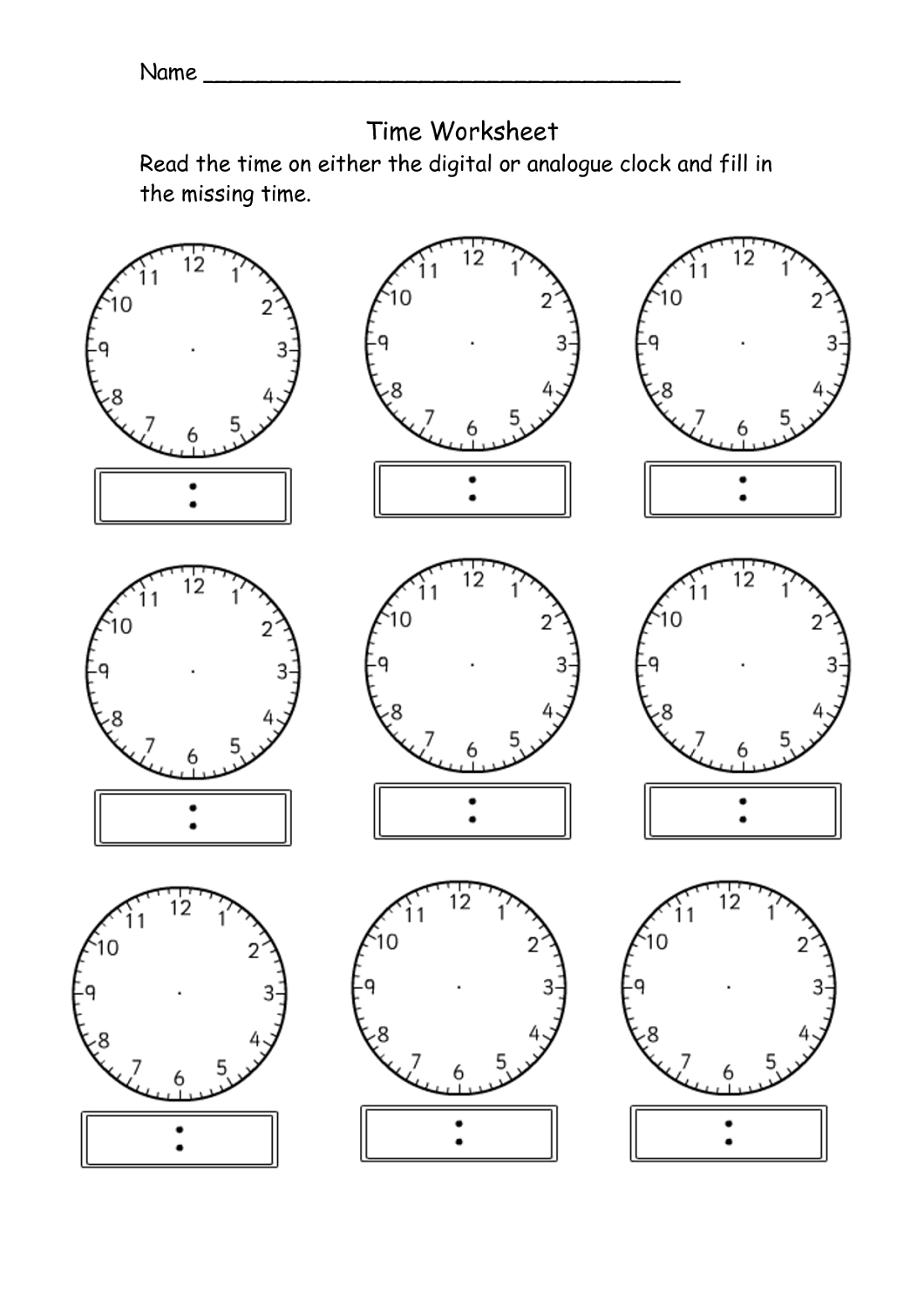 Blank Clock Worksheet To Print For Your Kids'assessment In Naming