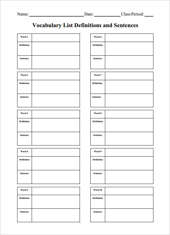 Blank Vocabulary Worksheet The Best Worksheets Image Collection