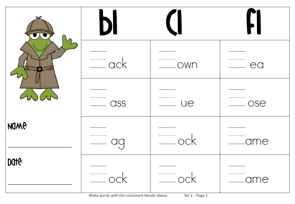 Blend Worksheet Worksheets Blends Kindergarten F Koogra Digraph Bl