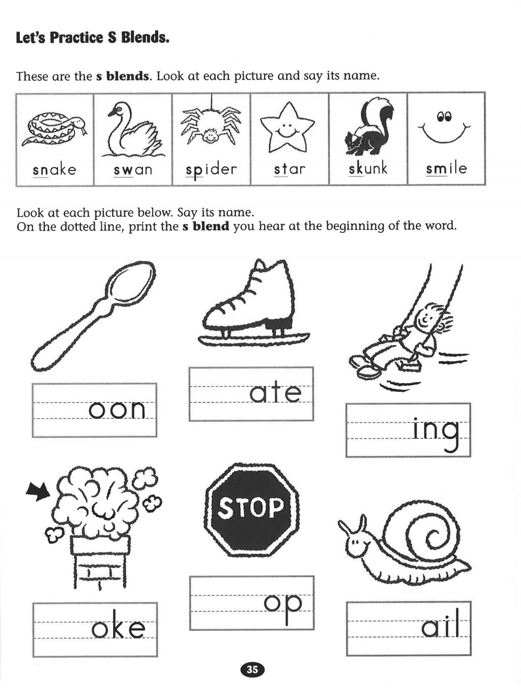 Blending Worksheets Forrten Consonant Blends Worksheet Kids Stock
