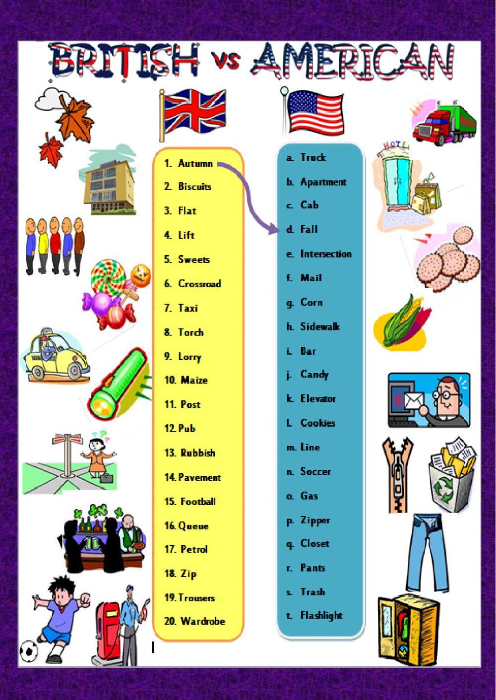 British Vs American English Interactive Worksheet
