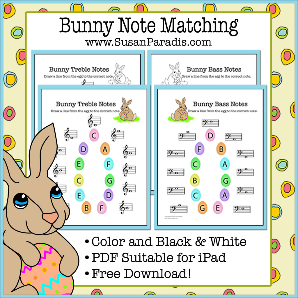 Bunny Note Matching Printables In Color And Black & White