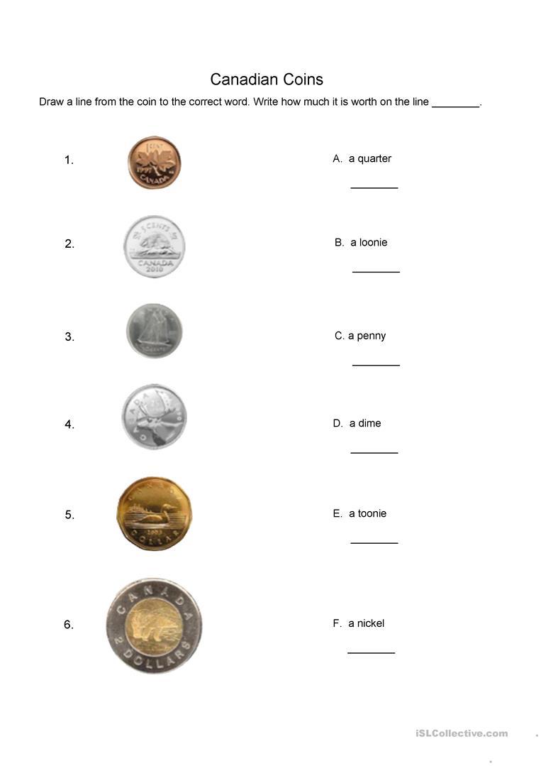 Canadian Coins Matching Worksheet Worksheet