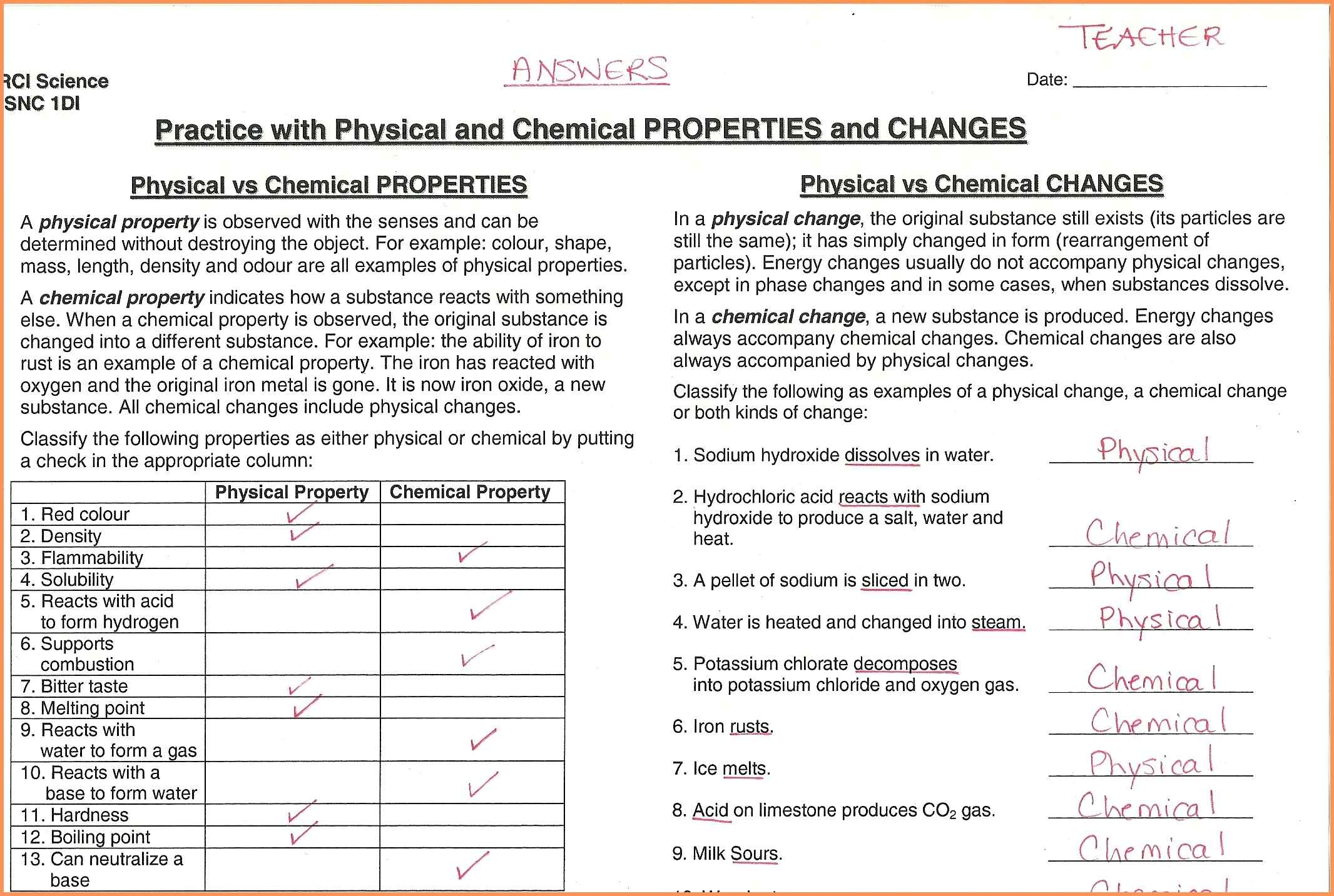 Chemical And Physical Properties Worksheet On Vs