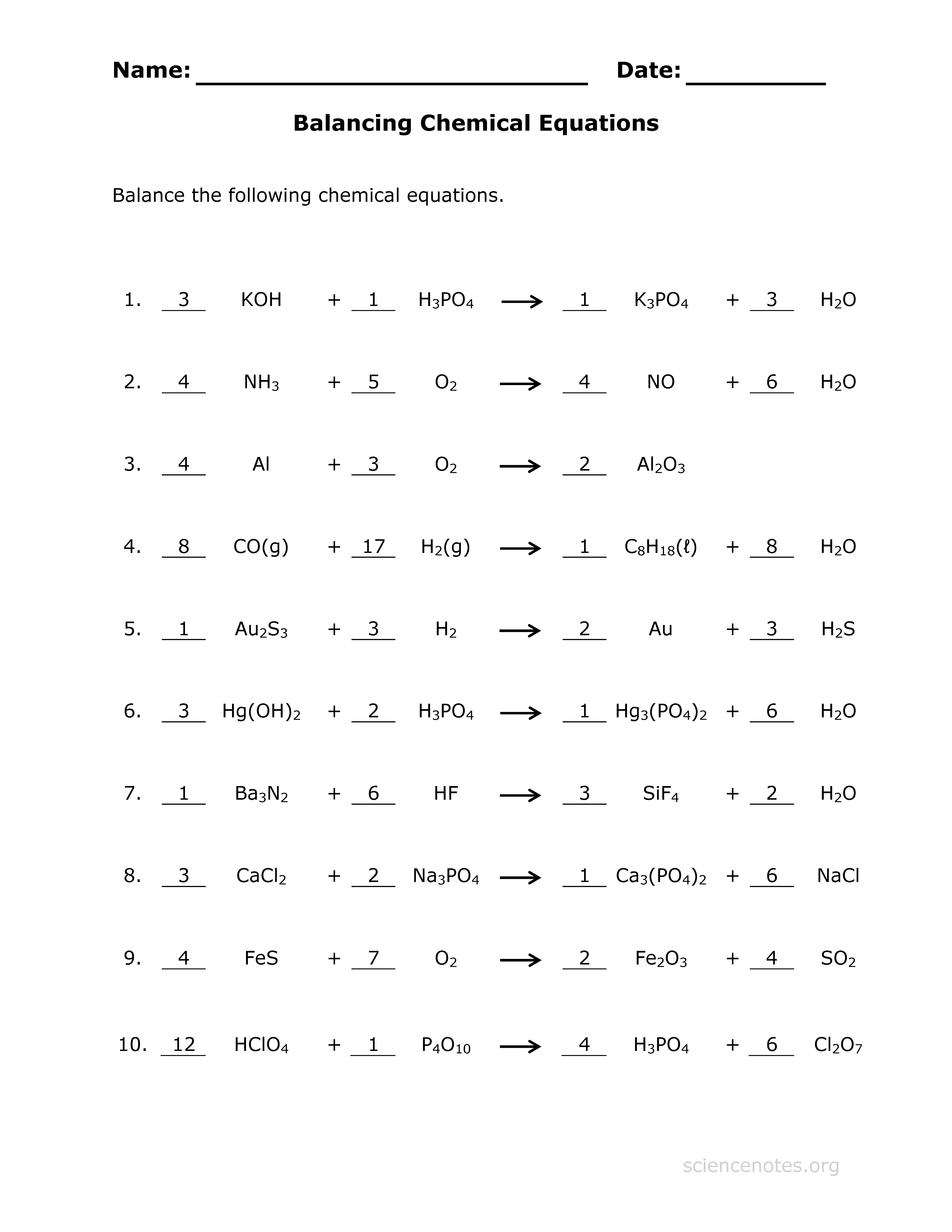 Chemistry Balancing Equations Worksheet By Dr Lyons Tpt Answer Key