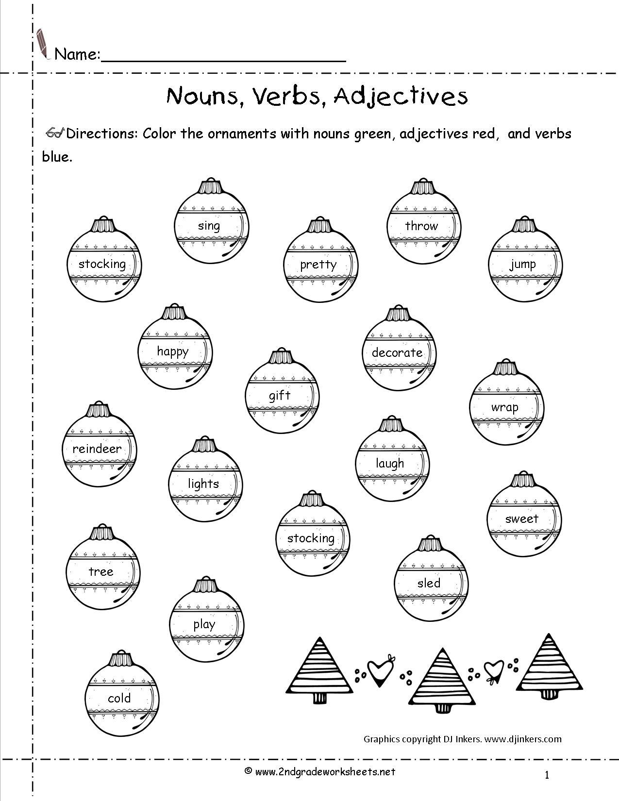 Christmas Nouns Worksheets