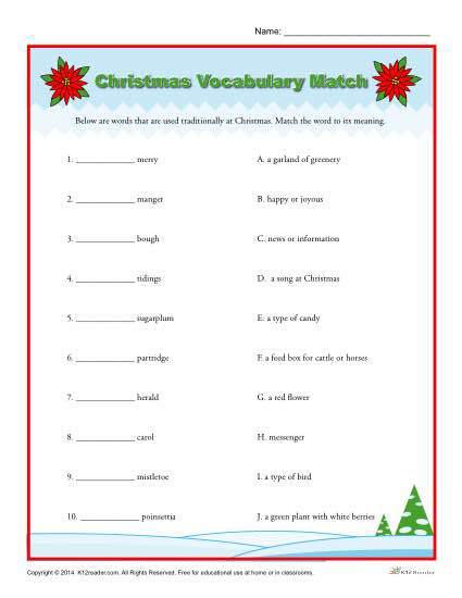 Christmas Worksheet Grade 5