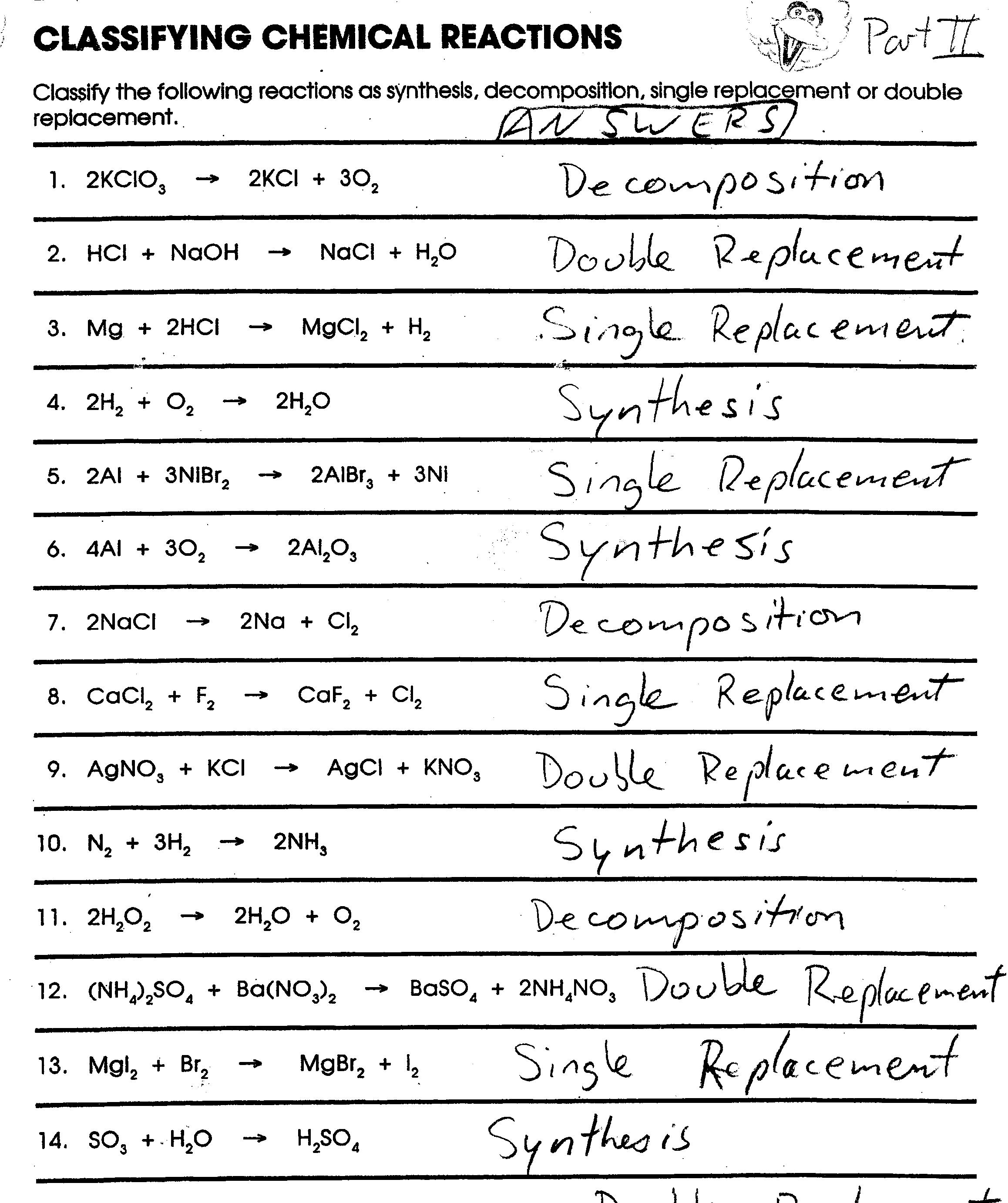 Classifying Chemical Reactions Worksheet Key