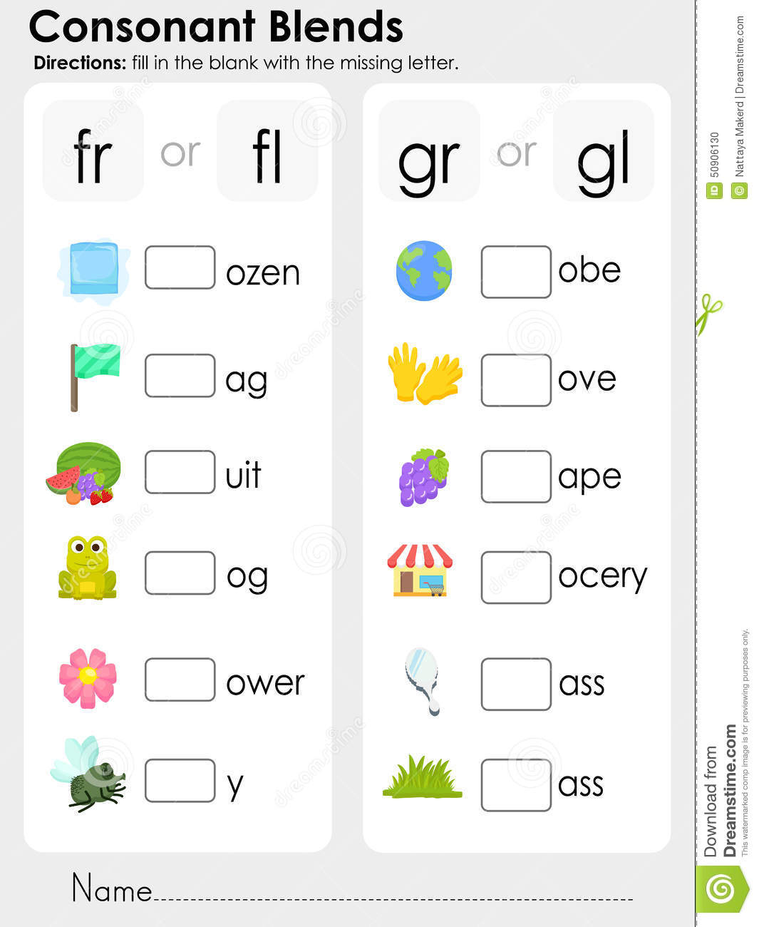 Classy Worksheets For Initial Blends About Beginning Consonant