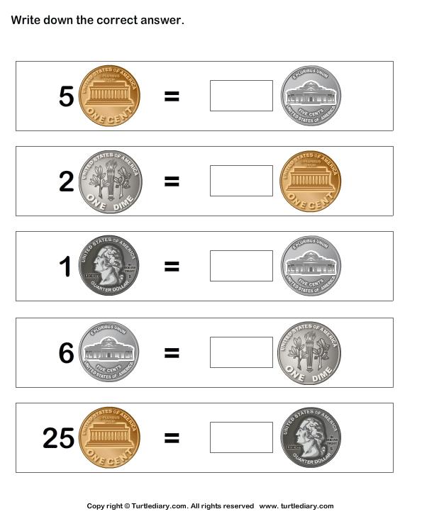 Coin Matching Worksheet