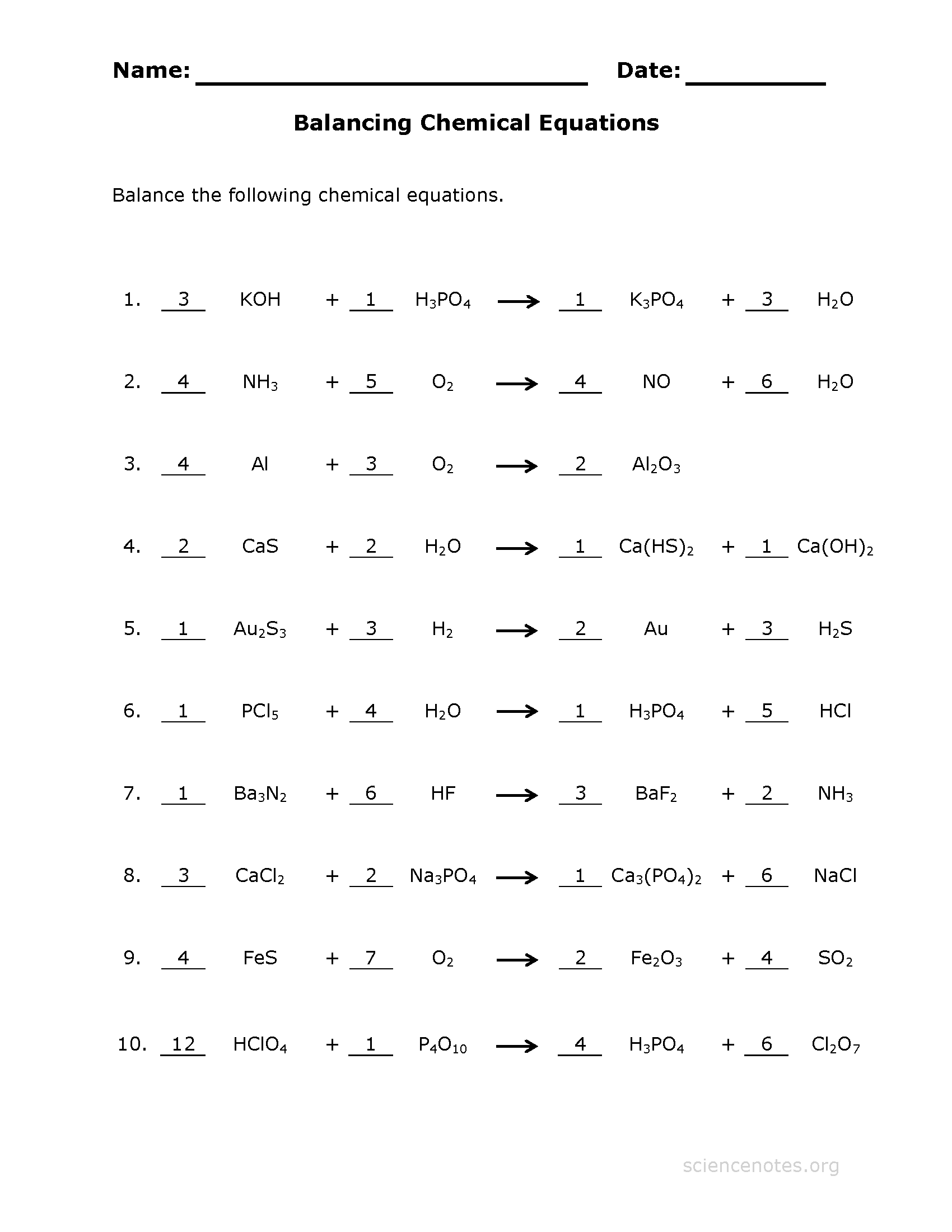 Collection Of Balancing Chemical Equations Worksheet Medium