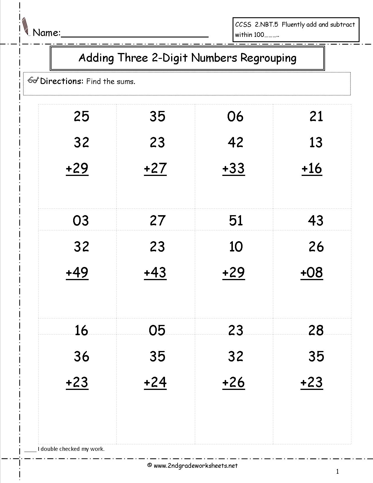 Collection Of Free Math Worksheets Double Digit Addition