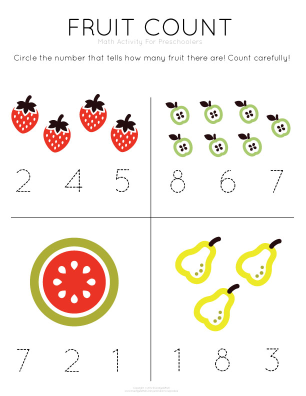 Collection Of Free Preschool Math Worksheets