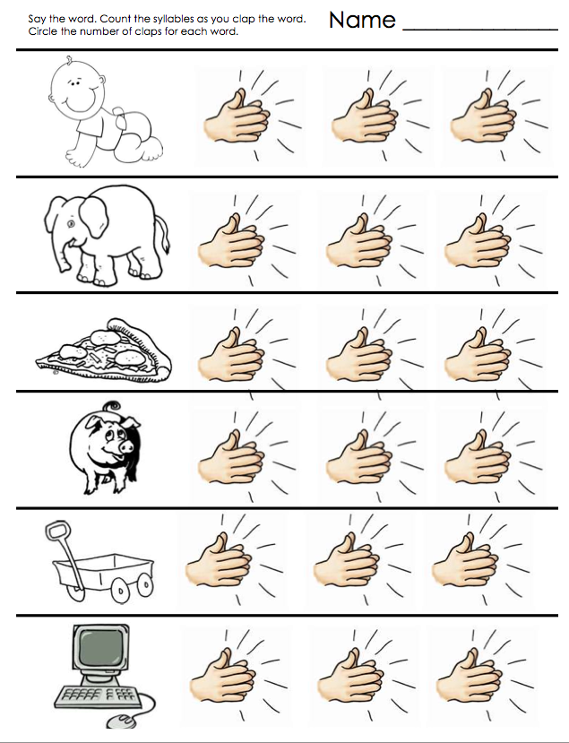Collection Of Free Printable Syllable Worksheets Kindergarten