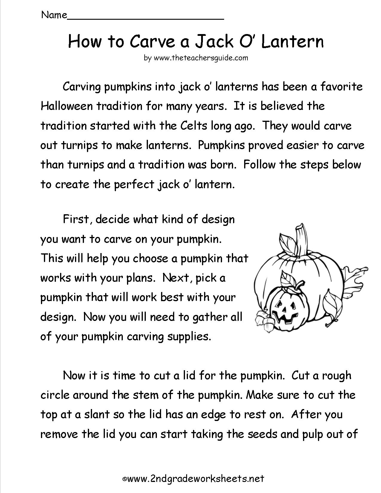 Collection Of Halloween Comprehension Worksheets