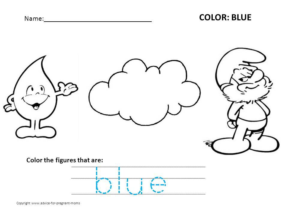 Collection Of Kindergarten Worksheets Color Blue