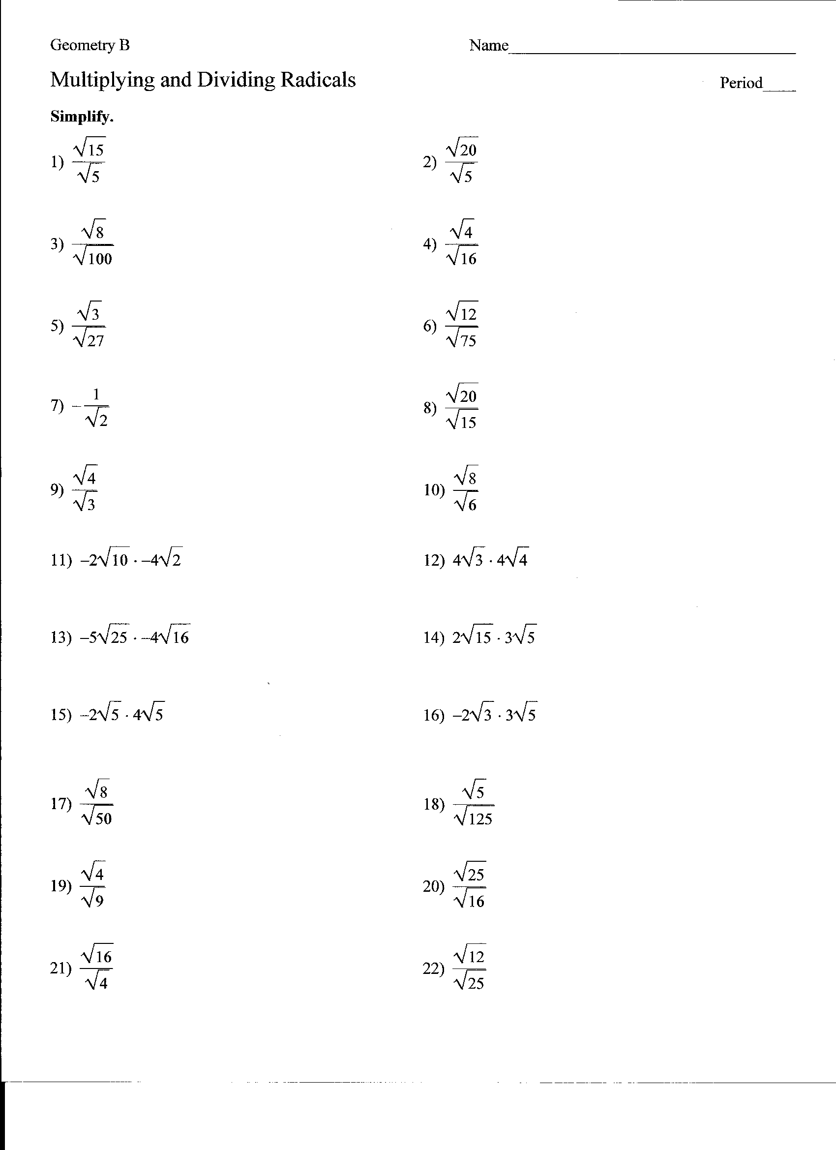 Collection Of Math Worksheets Go Simplifying Radicals
