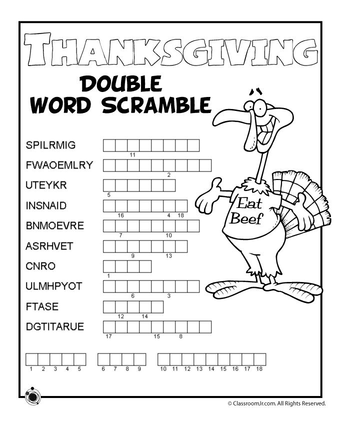 Collection Of Thanksgiving Worksheets For Second Grade