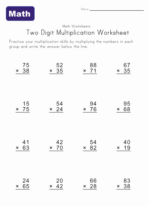 Collection Of Two Digit Multiplication Worksheets Free