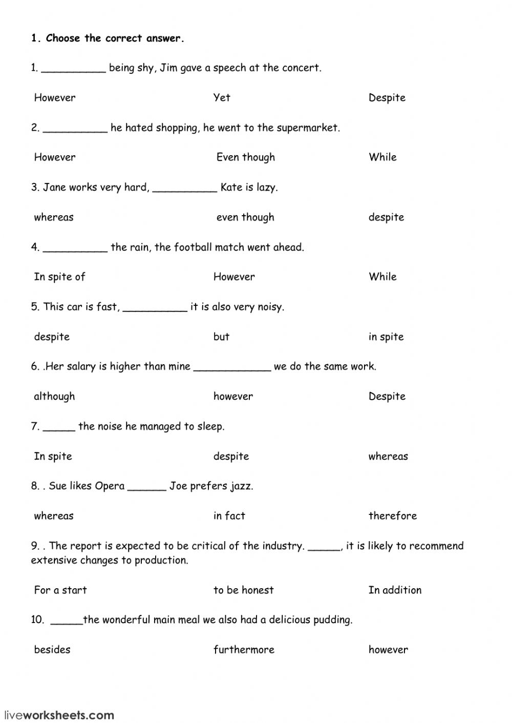 Connectors Interactive Worksheet