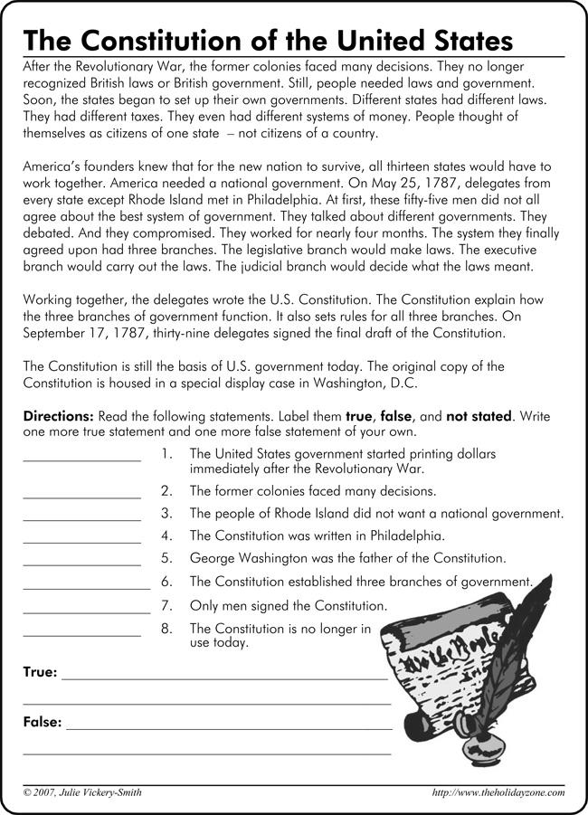 Constitution Worksheet For 4th Grade